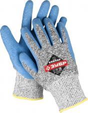 Перчатки трикотажные с латексным покрытием для защиты от порезов ЗУБР ЭКСПЕРТ 11277-S