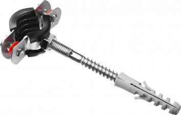 Хомут трубный в комплекте с сантехнической шпилькой и дюбелем ЗУБР МАСТЕР 37866-15-19
