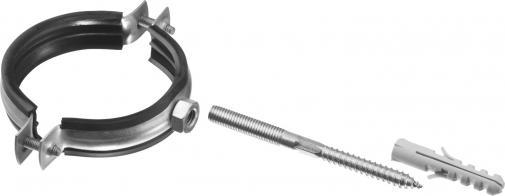 Хомут трубный в комплекте с сантехнической шпилькой и дюбелем ЗУБР МАСТЕР 37866-75-80