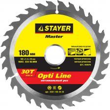 Диск пильный по дереву STAYER MASTER 3681-180-30-30